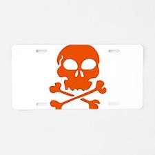 Orange skull and crossbones Aluminum License Plate