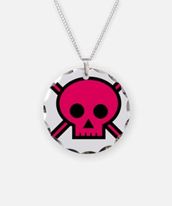 Hot pink skull and crossbone Necklace