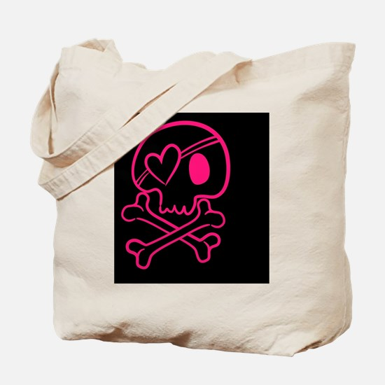 Hot pink and black skull with heart Tote Bag
