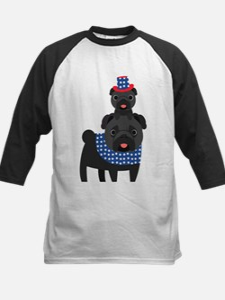 Patriotic Pugs - Black Pug Kids Baseball Jersey