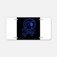 Bright blue and black skull Aluminum License Plate