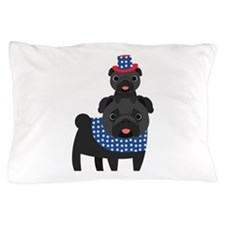 Patriotic Pugs - Black Pug Pillow Case
