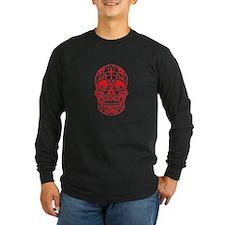 SugarSkull Red-01 Long Sleeve T-Shirt