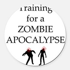 Training for Zombie Round Car Magnet