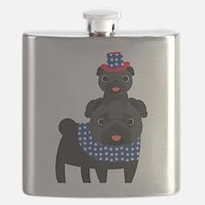 Patriotic Pugs - Black Pug Flask