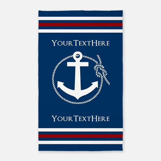 Navy Nautical Anchor and Rope Personalized Area Ru
