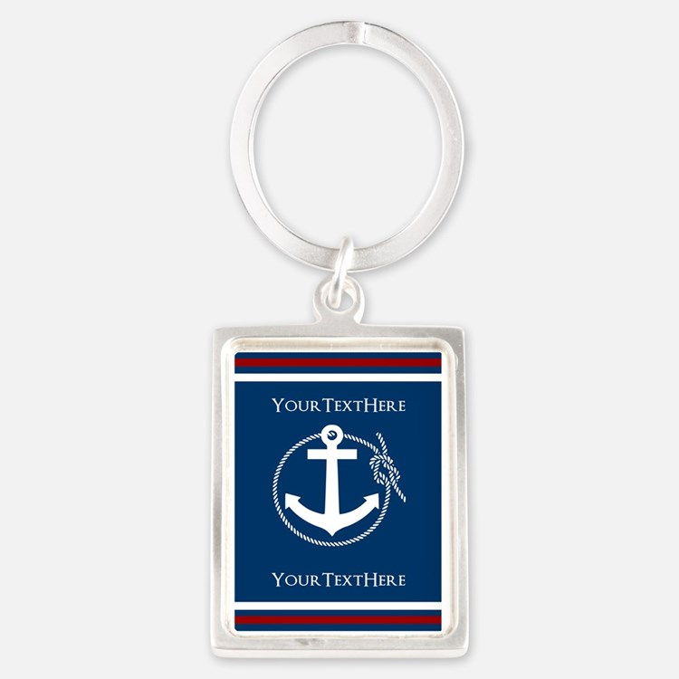 Navy Nautical Anchor and Rope Personalized Keychai