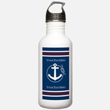 Navy Nautical Anchor and Rope Personalized Water B
