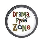 Funny Drama Free Zone Wall Clock