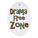 Funny Drama Free Zone Oval Ornament