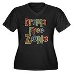 Funny Drama Free Zone Women's Plus Size V-Neck Dar