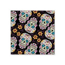 """Day of The Dead Sugar Skull Square Sticker 3"""" x 3"""""""