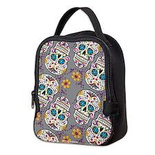 Sugar Skull Grey Neoprene Lunch Bag