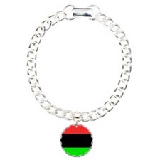 Square African American Charm Bracelet, One Charm