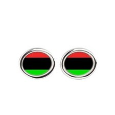 Square African American Flag Oval Cufflinks