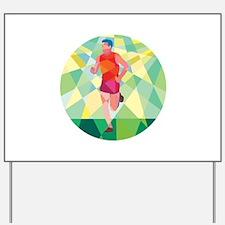 Marathon Runner Running Circle Low Polygon Yard Si