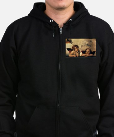Sistine Madonna Angels by Raphae Zip Hoodie (dark)