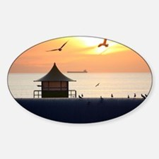 Ocean Sunset with Beach Hut and Sea Decal