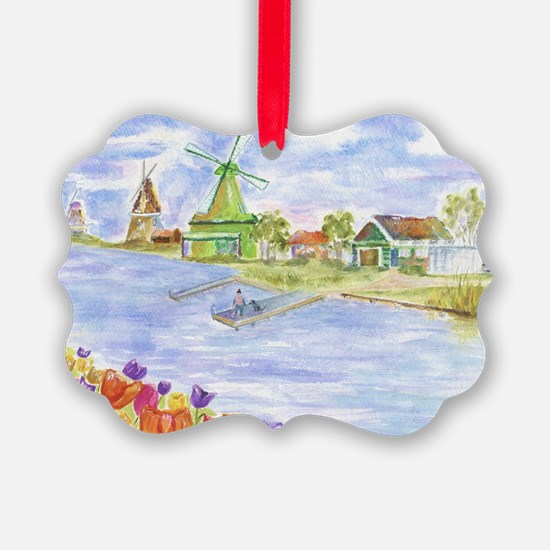 Tulips and Windmills Ornament