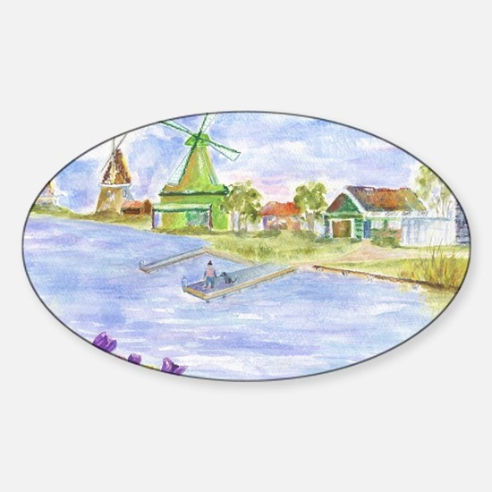Tulips and Windmills Sticker (Oval)