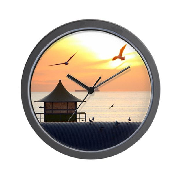 Ocean Sunset With Beach Hut And Seagull Wall Clock By
