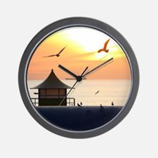 Ocean Sunset with Beach Hut and Seagull Wall Clock