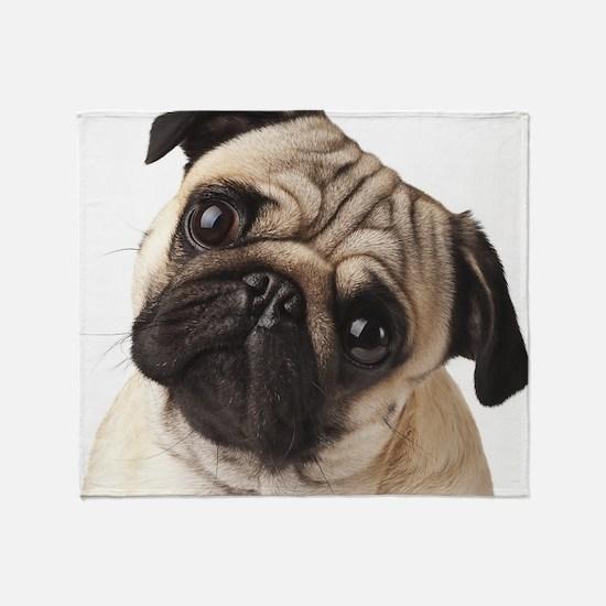Curious Pug Throw Blanket