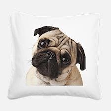 Curious Pug Square Canvas Pillow