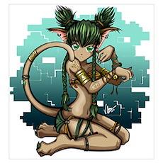 Anime Catgirl Art Poster