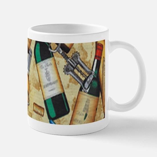 Wine Bottle and Cork Screws Mugs