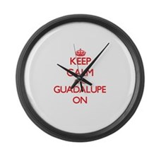 Keep Calm and Guadalupe ON Large Wall Clock