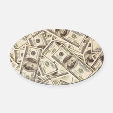 Dollar Bills Oval Car Magnet