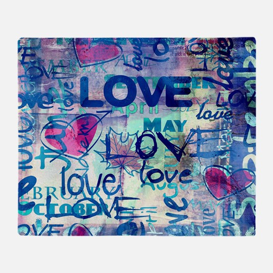 Abstract Love Painting Throw Blanket