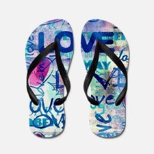 Abstract Love Painting Flip Flops