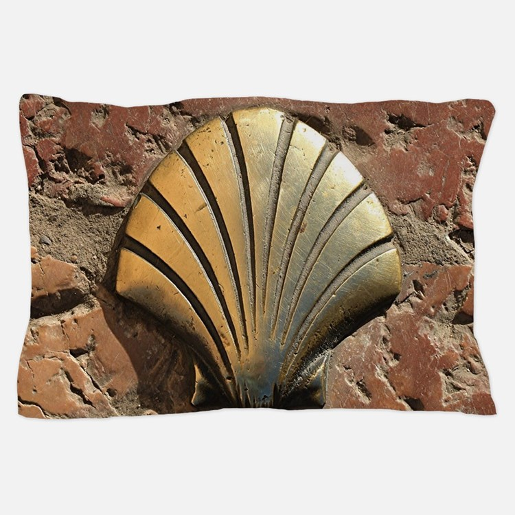 Gold El Camino shell sign, pavement, L Pillow Case