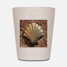 Gold El Camino shell sign, pavement, Le Shot Glass