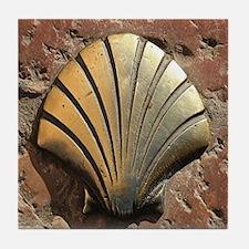 Gold El Camino shell sign, pavement,  Tile Coaster