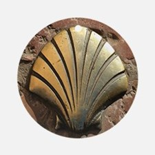 Gold El Camino shell sign, pavement Round Ornament