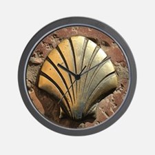 Gold El Camino shell sign, pavement, Le Wall Clock