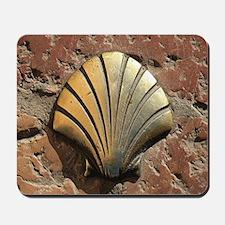 Gold El Camino shell sign, pavement, Leo Mousepad