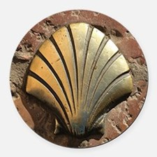 Gold El Camino shell sign, paveme Round Car Magnet