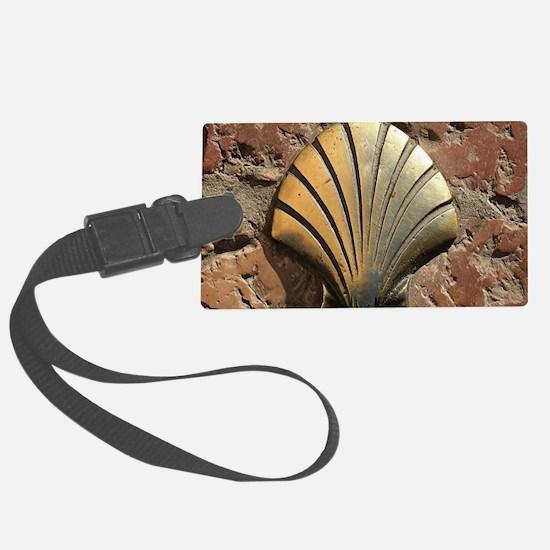 Gold El Camino shell sign, pavem Luggage Tag