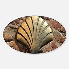 Gold El Camino shell sign, pavement Sticker (Oval)