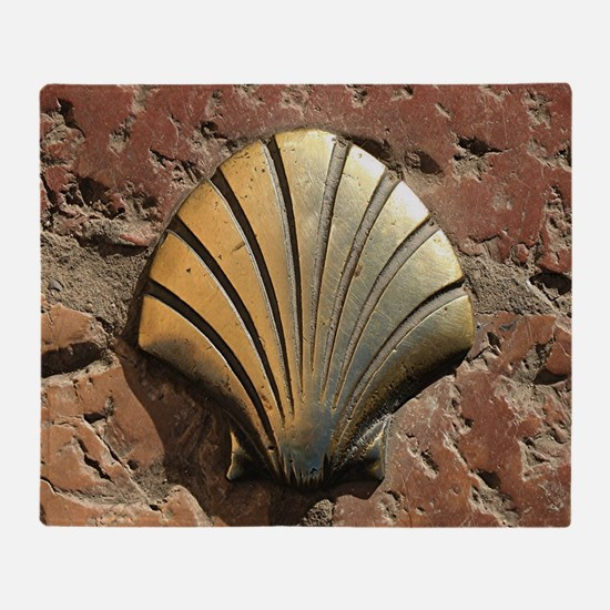 Gold El Camino shell sign, pavement, Throw Blanket
