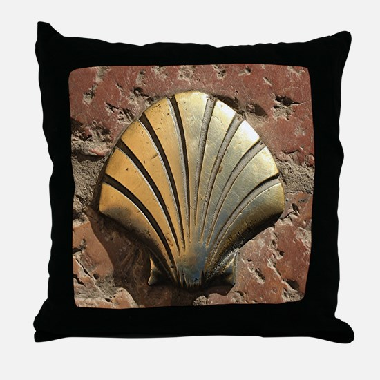 Gold El Camino shell sign, pavement,  Throw Pillow
