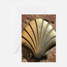 Gold El Camino shell sign, pavement Greeting Cards