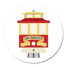Cable Car San Francisco Round Car Magnet