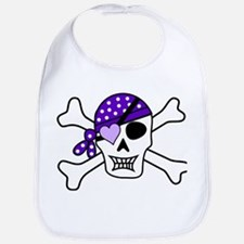 Purple Pirate skull and crossbones Bib
