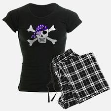 Purple Pirate skull and cros Pajamas