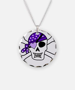 Purple Pirate skull and cros Necklace